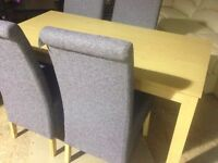 Oak Dining Table with 4 Grey Chairs - New