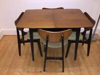 G PLAN TOLA BLACK EXTENDABLE DINING TABLE & 4 BUTTERFLY BACK CHAIRS