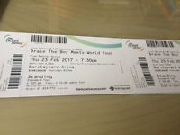 2 x Drake standing concert tickets Thursday 23rd February Birmingham Barclaycard Arena