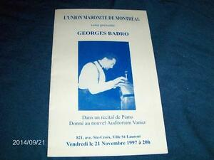 GEORGES BADRO PIANO RECITAL-PROGRAM-11/1997-MARONITE DE MONTREAL