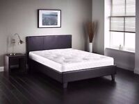 """SAME DAY FAST DELIVERY-- DOUBLE LEATHER BED FRAME WITH 9"""" DEEP QUILTED MATTRESS -SAME DAY"""
