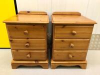 Pair of Matching Solid Pine Bedside Cabinets