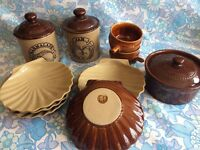 Job Lot of Retro/Vintage Kitchen Stoneware including Pearsons of Chesterfield & Hoganas