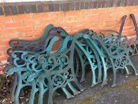Heavy Original Cast Iron Garden Bench Ends 12 Sets Available