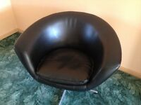 Genuine 1960's Scandinavian style black vinyl swivel chair
