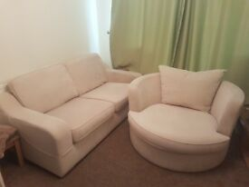 Large 2 seater sofa and swivle chair