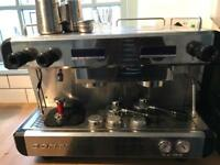 Two group coffee machine with barista kit WITH FILTER and grinder!