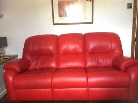 Red leather G Plan 3 seater sofa