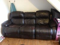 BROWN LEATHER RECLINERS - 3+1+1 SEATER SOFAS FOR SALE -FREE DELIVERY SOME AREAS -MUST GO ASAP - £225
