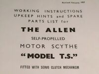 Allen scythe (copy of) Original instructions and parts list plus Villiers 2 stroke info