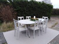 Lovely Extending Dining Set & 6 Chairs. Shabby Chic, Paris Grey. Delivery Available.