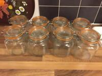 8 Clip top Kilner jars preserve baking storage 1 litre