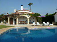 Oasis: Beautiful 3 bed villa with own lovely pool in exotic gardens by sea sandy beach, Denia Spain