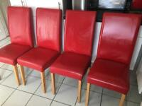 Red leather high back dining room chairs x4