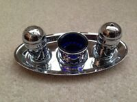 Vintage silver plated condiment set with tray. New never used.
