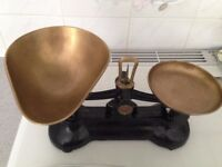 retro kitchen scales black with brass pans
