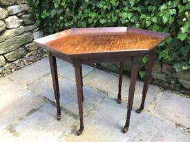Antique Vintage Wooden Side Table on Castors - Unusual Hexagonal Table