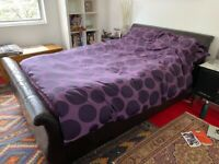 Double bed, leather sleigh bed, Feather and Black