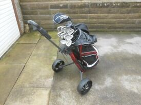 Full Set of right handed golf clubs with bag & trolley