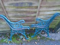 Cast iron bench ends with embossed flower