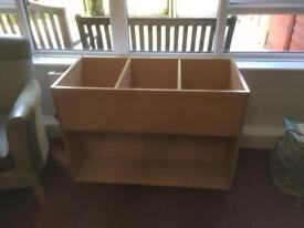Large wooden toy storage on wheels