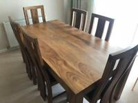 Solid Wood Dining Table, 6 Chairs & Sideboard