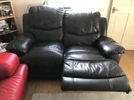 Brown leather reclining double sofa