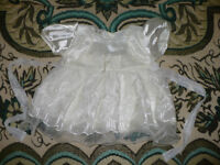 Christening/ Party cream (like very light yellow) dress for girl 3-6mths/ 3-6 mths. VGC!