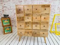 Large 16-Drawer Apothecary Hobby Chest Solid Hardwood Mid-Century Style Modern Living