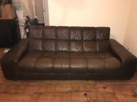 **Large Brown Leather Sofa with Free DFS Leather Cleaning Kit**
