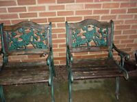 2 x Large Heavy Old Garden Chairs, Ornate Iron & Wooden