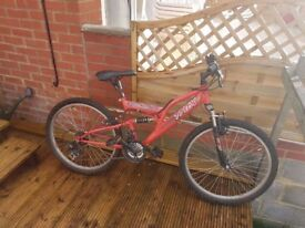 Teenagers Trax Mountain Bicycle double suspension