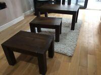 Walnut brown modern, chunky coffee/side tables set