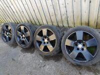 "4X BLACK VW GOLF MK 5 6 7 PASSAT SHARAN TOURAN CADDY SKODA OCTAVIA SEAT 17"" ALLOY WHEELS"