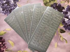 "Wedding stationery silver ""Thank You"" stickers 5 sheets"