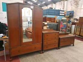 Large vintage single door wardrobe with matching drawers and dresser table set