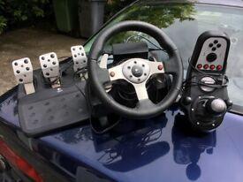 Logitech g920 with handbrake and stand! Sim racing (drift/Rally
