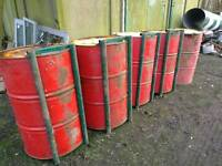 Dog training 40 gallon drums with stabiliser brackets