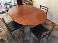 Solid Teak Mid Century Dining Room Table & Chairs for Restoration