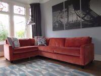 Orange Velvet HABITAT 'Rupert' Corner Sofa RRP £5100