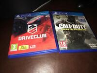 Drive club and the new COD PS4 games for sale