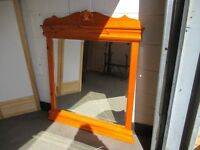 LARGE PINE MANTLE MIRROR FLOOR MIRROR WITH CARVED DETAIL FREE DELIVERY