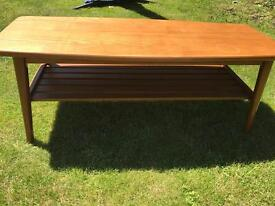 1960s wooden coffee table with under shelf