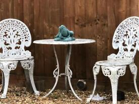 Cast Iron Vintage Garden Table & 3 Chairs