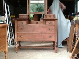 Oak dressing table with mirror