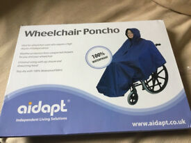 MOBILITY COMFORT- NEW UNOPENED WATERPROOF BLUE NYLON 'Aidapt' Wheel Chair Poncho - only £9 bargain.