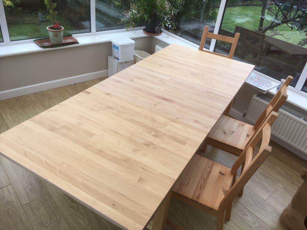 Ikea extendable norden dining table in birch plus skogsta wooden ikea extendable norden dining table in birch plus skogsta wooden bench plus 4 x wooden ivar watchthetrailerfo