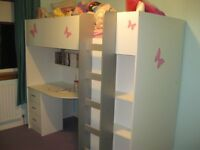 High Sleeper Cabin Bed (Calder) with desk and wardrobe