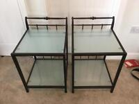 Wrought iron bedside tables (pair)