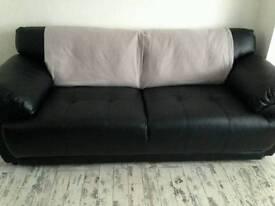 3+2 seater black sofas